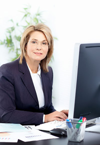 lady with desktop computer