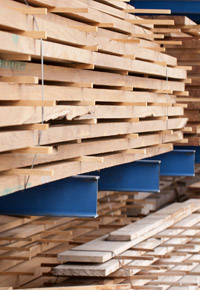 lumber boards stacked