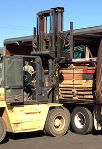 forklift loading truck at J Gibson McIlvain
