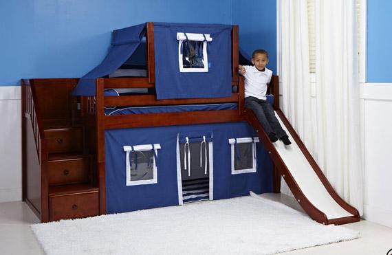 maxtrix bunk bed with slide chestnut