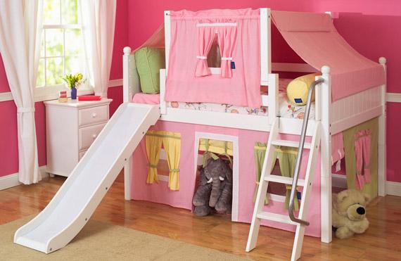 maxtrix girls slide loft bed