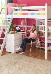 maxtrix high loft white bed with desk underneath
