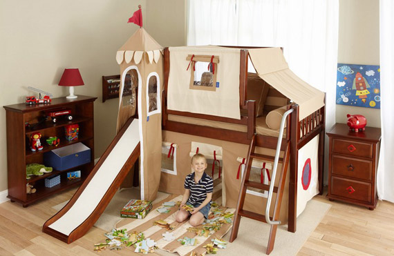 maxtrix low loft castle bed with slide brown