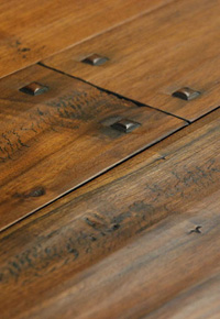 Rehmeyer Authentic Hand Scraped Walnut Wide Plank Flooring with Pegs