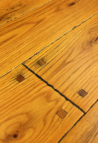 Rehmeyer Old Trail Collection: Red Oak Flooring with Pegs and Smoke Accents