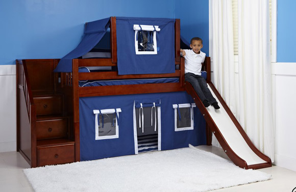 boys maxtrix bunk bed with slide staircase chestnut
