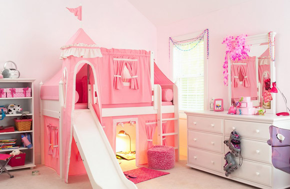 girls maxtrix pink princess castle bed with slide and tower
