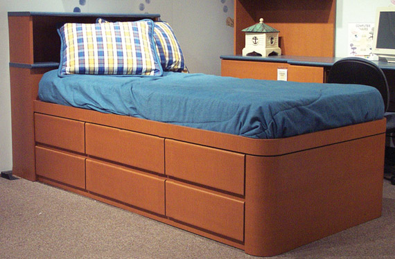 mica six drawer storage platform bed