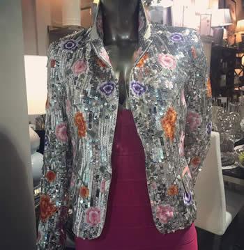 Alice & Olivia Sequin Floral Jacket