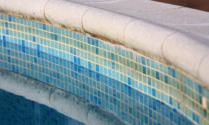 dirty swimming pool wall tiles