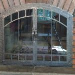 Fireplace Door Forged with Window Pane