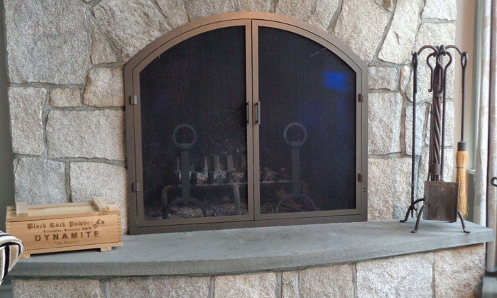 Fireplace Thin Frame Arch with Screen Doors