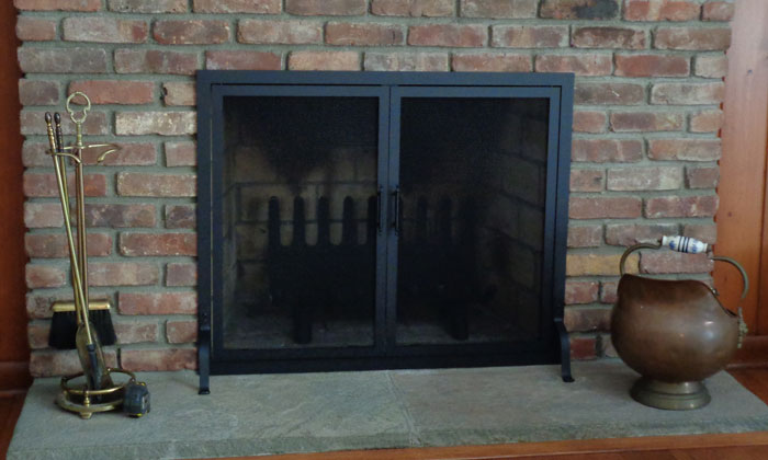 Fireplace Traditional Screen with Doors in Black