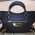 balenciaga bag black calf leather with gold silver hardware