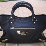 balenciaga bag black calf leather with gold silver hardware