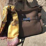 hermes designer handbag and scarf