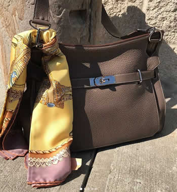 hermes designer handbag and scarf