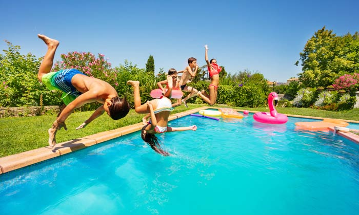 somersaulting kids into swimming pool