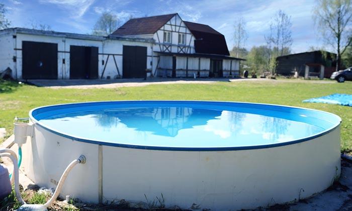 basic swimming pool in backyard