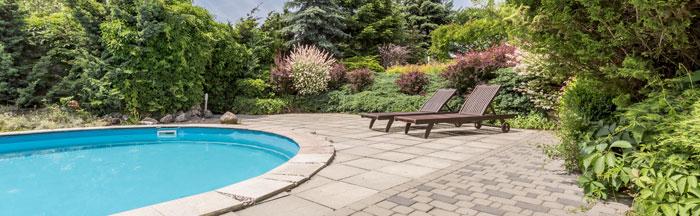 serene backyard swimming pool landscape