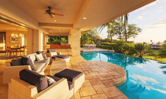 living area overflows into backyard pool