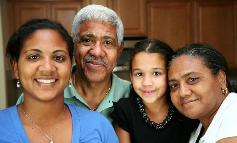 Hispanic family multi generations posing