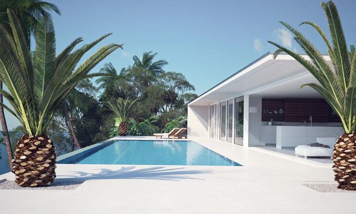 modern bathhouse next to pool